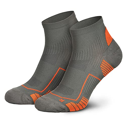 Piarini Laufsocken Herren Kurz Atmungsaktive Jogging Socken MESH Gewebe Lauf Socken Anti-Blasen Naht Fitness Socken Sportsocken Grau Orange 39-42