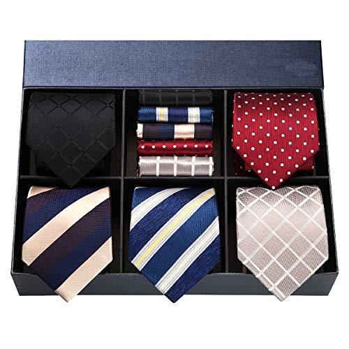 洗える ネクタイ 5本セット [ HISDERN(ヒスデン) ] フォーマル 黒 ネクタイ チーフ メンズ 結婚式 赤 ネクタイ セット ビジネス ネクタイ ブランド プレゼント T5A016