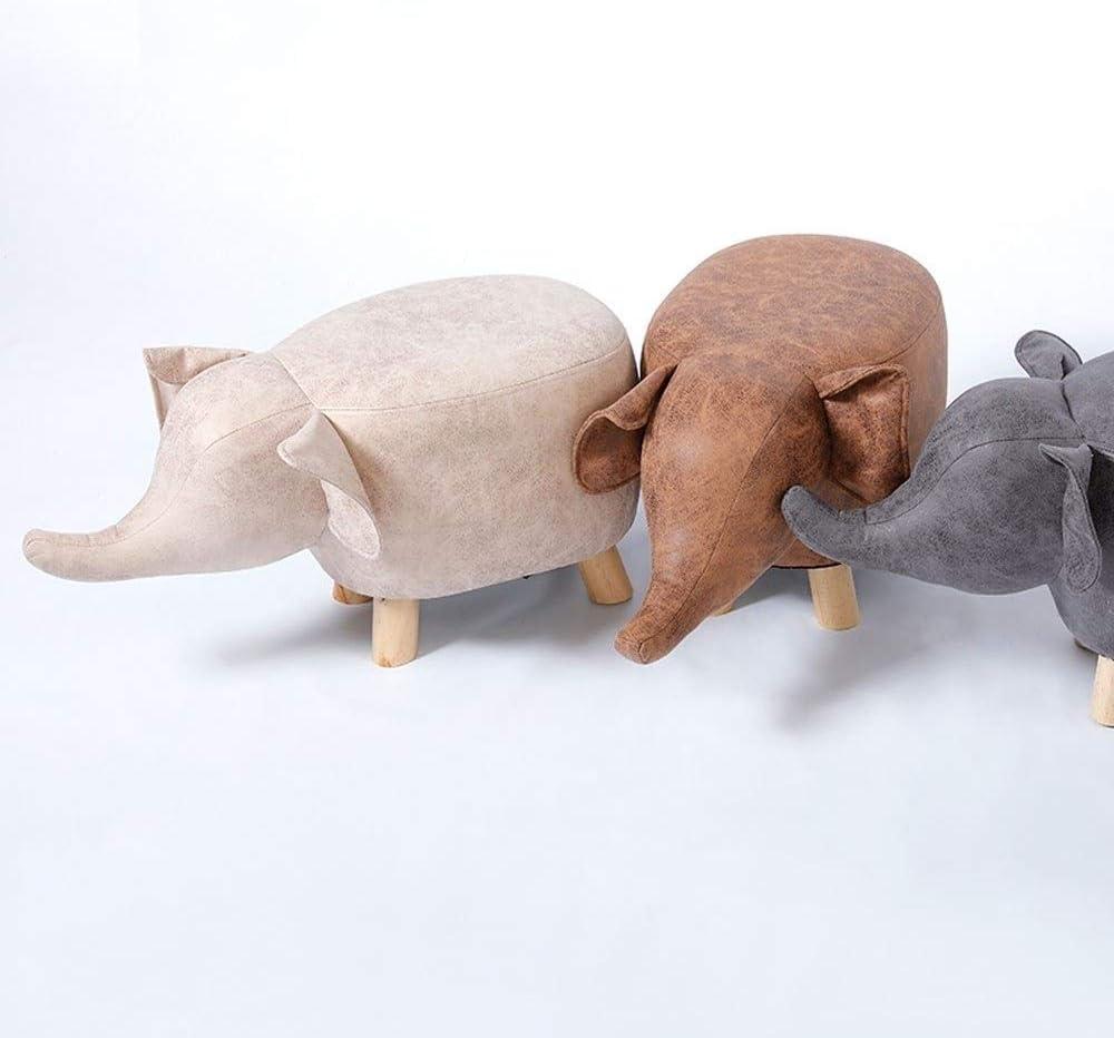 YUMUO Tabourets de Forme Animale avec Pieds en Bois et bancs de siège en Cuir pour Porter des Chaussures Ottoman F0106 (Couleur: Éléphant Jaune) 2