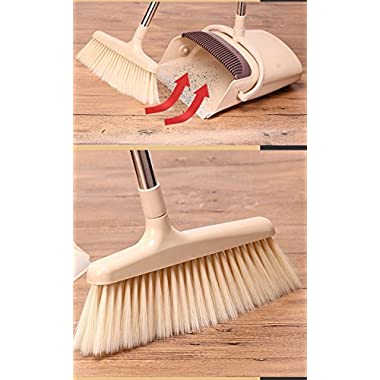 Broom Dustpan Set EXTRA LONG 38 inches 49 inches handle-Broom And Dustpan Upright,Lies Tightly On Floor-Commercial Broom Set for Home, Lobby, Shop, Garage,Schools,Churches,Hotel,Bars (beige-windpf)