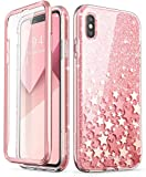 i-Blason Funda iPhone XS 360 Grados Carcasa [Cosmo] Antigolpes Case Brillante con Protector de Pantalla Integrado para iPhone XS 5.8 Pulgadas Rosa