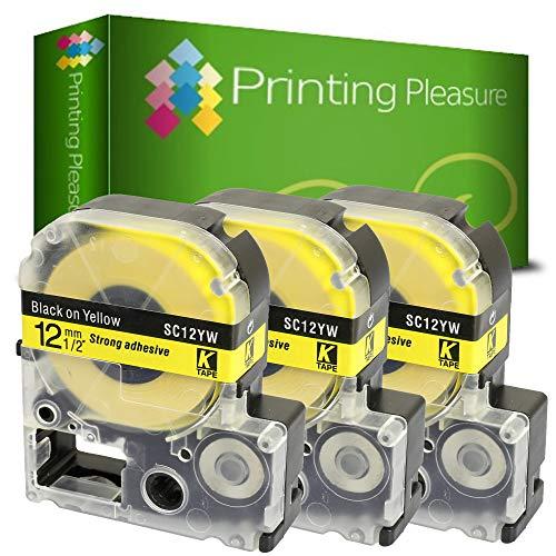 Printing Pleasure 3X AC12YW SC12YW Schwarz auf Gelb, Schriftband kompatibel für EpsonLabelWorks LW-300 LW-400 LW-500 LM-700 LW-900P OK200 OK300 OK500P OK720 OK900P KingJim TepraPro   12mm x 8m