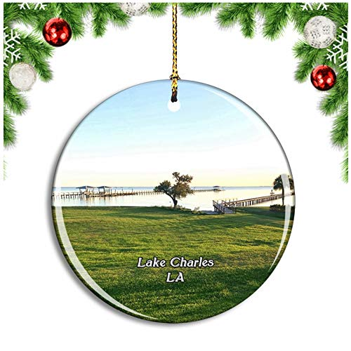 Weekino Lake Charles Louisiana USA Christmas Ornament Xmas Tree Decoration Hanging Pendant Travel Souvenir Collection Double Sided Porcelain 2.85 Inch