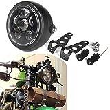HOZAN 5.75 5-3/4inch Black LED Motorcycle Headlight with Headlight Housing for Honda Shadow Kawasaki Suzuki Motorbikes Metric bikes Cruisers Choppers