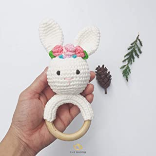 The Bunny Baby Gift Rattle Animals Toddlers Toy Baby Doll - Handmade Amigurumi Toys - Baby Accessories - Crochet Newborn Gift - Stuffed Doll (White Bunny)