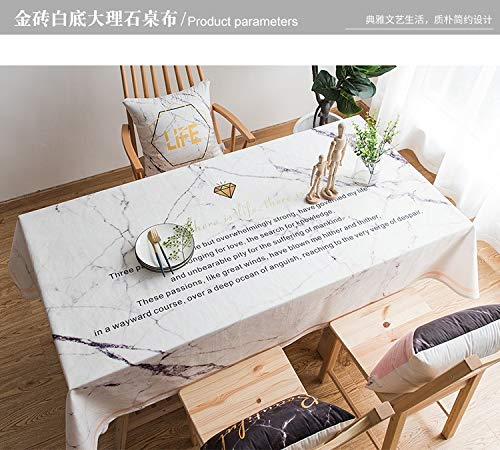 Creek Ywh Nordic Small Fresh in wind Table Cloth Moderne en minimalistische salontafel van katoen en linnen, motief marmer wit van bakstenen, 110 x 170 cm