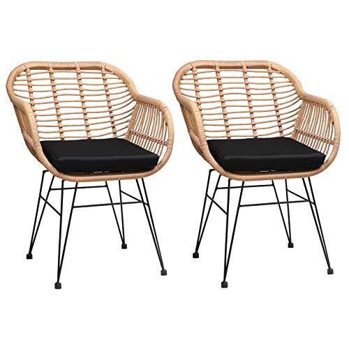 Casaria Poly Rattan 2er Set Korbsessel Bali mit Auflage Armlehne Metall Wetterfest Garten Gartenstühle Outdoor Esszimmer