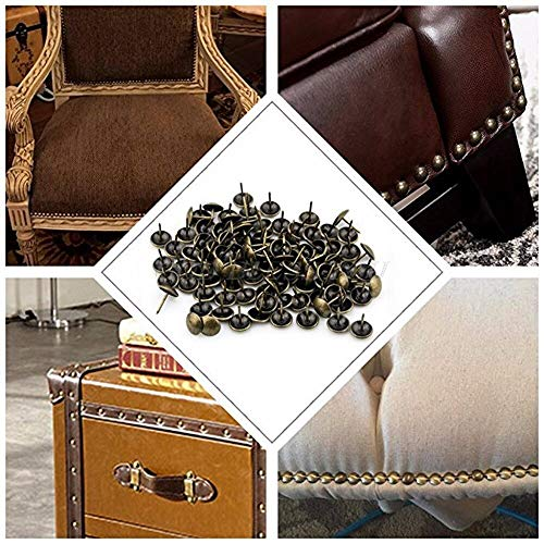 Realmdecor 100pcs Bag Antique Brass Bronze Upholstery Nail Jewelry Gift Wine Case Box Sofa Decor - Filigree Lounger Decorative Modern Lounge Nail Outdoor Sofa Bean Upho