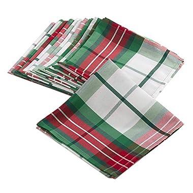 Multi Christmas Holiday Plaid Design Holiday Cloth Napkins (Set of 4), 20  Square