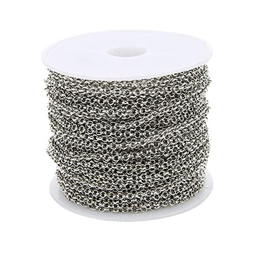 Harilla Cadena de eslabones Redondos de 30 pies y 3 mm de Ancho para Collar, Pulsera, Colgante, fabricación de Joyas DIY, hallazgos artesanales - Blanco K