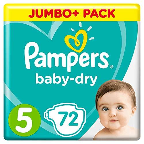 Pampers Baby-Dry Größe 5, 72 Windeln, 11-16 kg, Jumbo+ Pack, Luftkanäle für atmungsaktive Trockenheit über Nacht