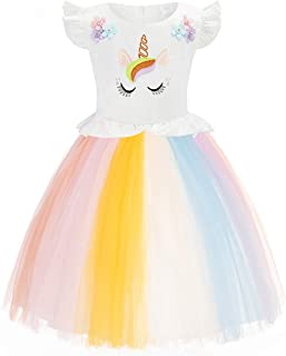FUNNA Toddler Unicorn Costume for Girls Rainbow Princess Dress Tutu Birthday Party
