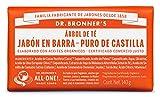 Dr. Bronner's | Jabón de castilla orgánico antiséptico en barra, concentrado, ideal para todo el cuerpo, ayuda a eliminar células muertas - con aceite esencial de Árbol de Té 140 gr