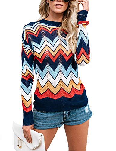 Relipop Women's Pullover Jumper Crewneck Rainbow Color Striped Knit Sweater