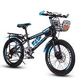 FXPCYGZ Bicicletas Aire Libre For Los NiñOs De Sexo Masculino 20 Pulgadas Hembra Al Aire Libre MontañA MontañIsmo 7 Velocidad Variable Doble Freno De Disco, Altura Adecuada: 120-145 cm(Blue)