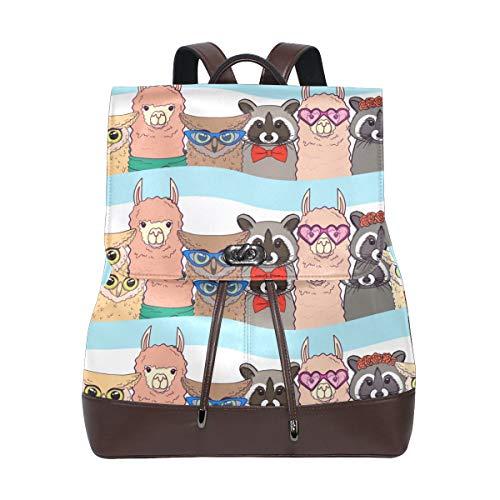 Ahomy Damen Fashion PU Leder Rucksack Llamas Racoons Owls Anti-Diebstahl Rucksack Schultertasche
