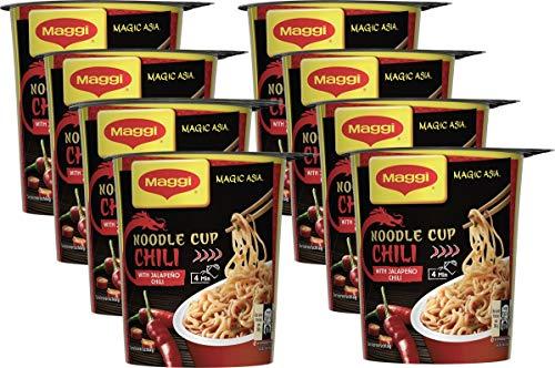 Maggi Magic Asia Noodle Chili Cup, Instant Nudel-Snack, asiatisches Fertiggericht, scharf gewürzt, 8er Pack (8 x 63g)