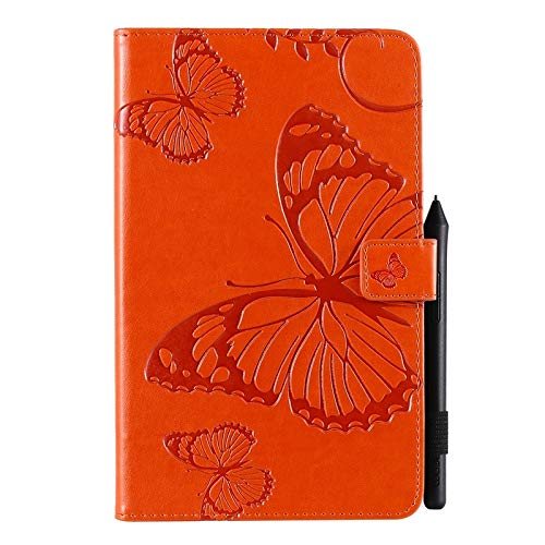 Wangqianli Compatible With Samsung Galaxy Tab A With S Pen 8.0 2019 SM-P200/SM-P205 Butterfly Flower Floral Pattern PU Leather Wallet Stand Tablet Case (Color : Orange)