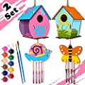 4 Pack DIY Bird House & Wind Chime Kits for Children to Build and Paint-Arts and Crafts for Kids Boys Girls Ages 3-5 - 4-8 - 8-12, Kids Crafts Includes Paints & Brushes from HOSKO