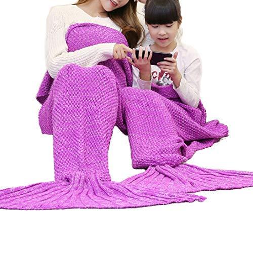 Willlly Zeemeermin staart deken voor volwassenen en kinderen handgemaakt gehaakte deken All Season Super zachte slaapzakken Blue Sale Home dagelijks gebruik product