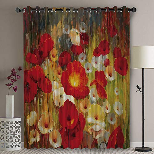 Libaoge Blackout Patio Door Curtain Panel - 90 Inch Long Grommet Top Thermal Insulated Bedroom Darkening Curtain - Retro Poppy Flower Floral Painting Style Red Yellow Curtains for Sliding Glass Door