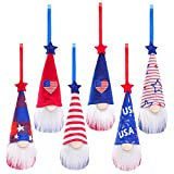 Independence Day Hanging Gnome Ornaments Set of 6, Patriotic Gnomes Handmade Leprechaun Elf Tomet Decorations Spring Gnome Lucky Hanging Ornament