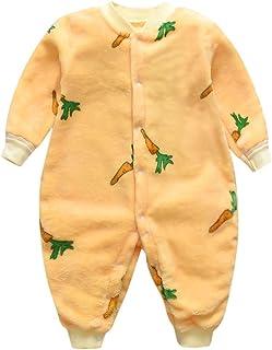 Baby Boys Girls Hooded Romper, Toddler Kids Cartoon Printed Fleece Button Jumpsuit Soft Pajamas