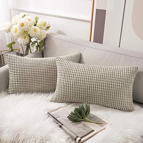 Ashler Set of 2 Solid Decorative Accent Pillow Case Striped Corduroy Plush Velvet Cushion Cover (12 x 20 inch, Light Grey)