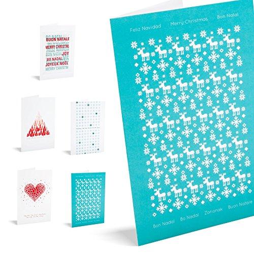 Postal Navidad - Pack de 10 tarjetas'red & teal'