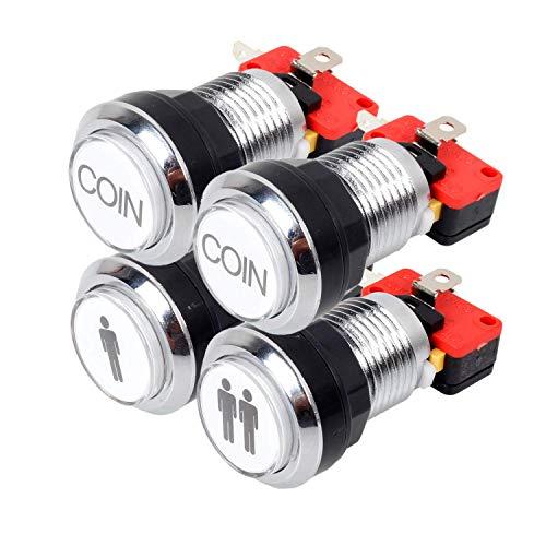 EG STARTS Arcade botones de cromo plateado 5V / 12V LED de un botón luminoso 1P / 2P jugador inicial botones / Coin 2x Botones de MAME / JAMMA / juegos de lucha / video juegos arcade de piezas