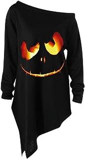 TIANTI Women Blouses Funny Halloween Off Shoulder Sweatshirt Slouchy Witch Shirt Pumpkin Print Long Sleeve Pullover