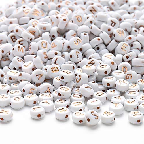 HERZWILD buchstabenperlenzum auffädeln 1000pcs rosa gold buchstaben perlen rund bastelnperlen Buchstaben A-Z perlen für Schmuck Basteln (rosa gold)