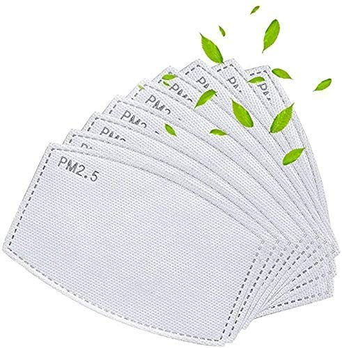 50Pcs Adult PM 2.5 Activated Carbon Filter Insert 5 Layers Replaceable Anti Haze Filter Paper (50 Pack)