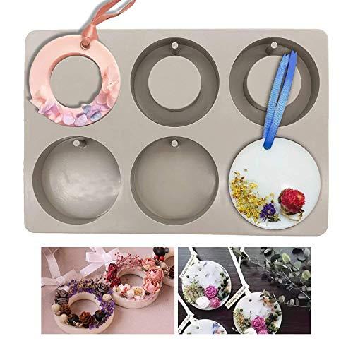 Moldes de silicona para hacer joyas artesanas de resina, con orificio Round and Ring