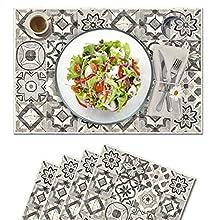 Vilber, juego de 4 manteles individuales Vinilo (30,5x45,6x0,22 cm), Antimanchas, Antideslizantes y resistentes al calor. Combinables con caminos de mesa y alfombras. KOLLAR 05