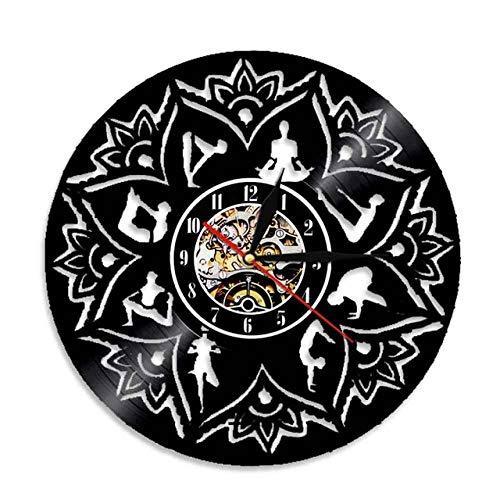 SKYTY Vinyl Music Record Wall Clock-Handmade Vintage Silhouette Yoga Vinyl Clock Interior Decor Art Clock-No Led Light