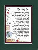 Genie's Poems Thank You Appreciation Poem 8x10 Double-Matted in Dark Green Over Burgundy for My Special Teacher