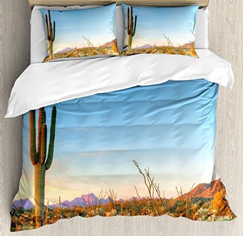 Ambesonne Saguaro Duvet Cover Set, Sun Goes Down in Desert Prickly Pear Cactus Southwest Texas National Park, Decorative 3 Piece Bedding Set with 2 Pillow Shams, Queen Size, Orange Blue
