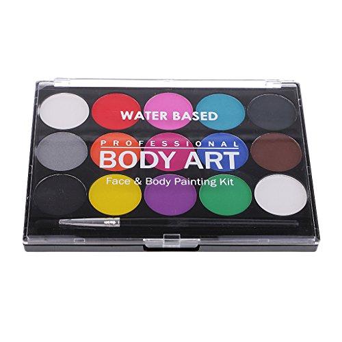 Hellery 15-Colores Pintura De La Cara Paleta Maquillaje De Halloween Pintura De...