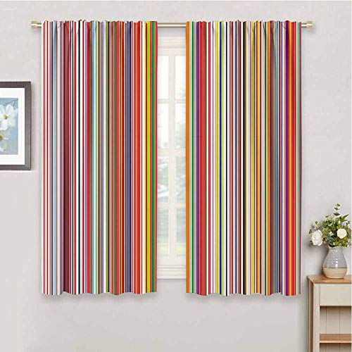 Rainbow Blackout Curtains for Bedroom, Curtains 63 inch Length Colorful Thin and Thick Vertical Stripes with Digital Effect Vibrant Stylized Lines Waterproof Fabric Multicolor W63 x L63 Inch