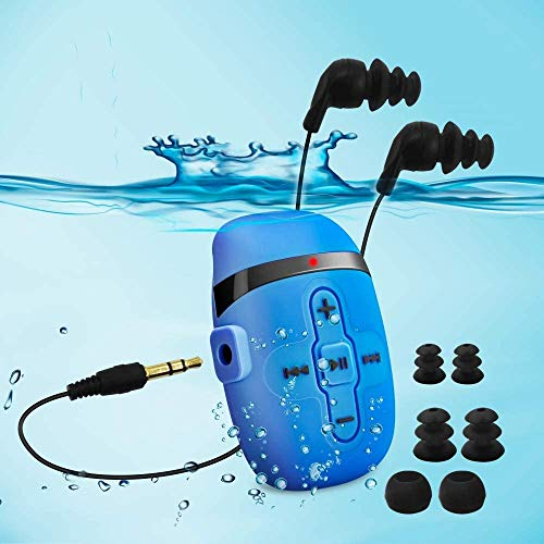 HiFi Sound Wasserdichter MP3 Player zum Schwimmen und Laufen, Unterwasser-Kopfhörer mit kurzem Kabel (3 Arten Ohrhörer), mit Shuffle Funktion (Blue)