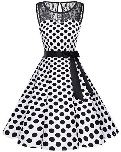 bbonlinedress 1950er Ärmellos Vintage Retro Spitzenkleid Rundhals Abendkleid White Black BDot 3XL