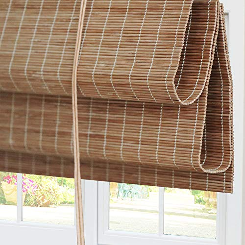Bamboo Roman Window Shades Blinds, 20W x 36H Inches, Light Filtering UV Protection RollUp RollerShadeswithValance for Windows, Kitchen, Doors, Porch, Color 1