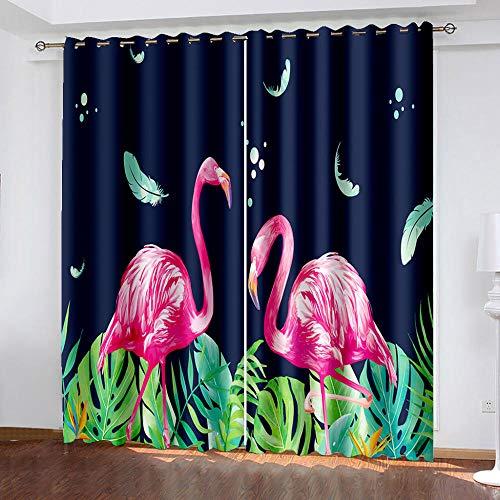 DRFQSK Cortinas Infantiles Impresión Digital Flamenco Animal 3D Cortinas Opacas Termicas Aislantes Cortinas Dormitorio Moderno con Ollaos, 2 Paneles 300 X 270 Cm(An X Al)