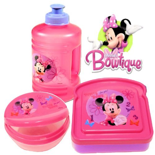 Disney Minnie Mouse Bow-tique Lunch Set (Water Bottle, Snack Box & Sandwich Box) (Pink)