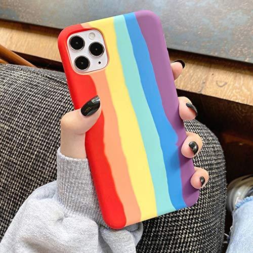 Funda Arcoíris Compatible con iPhone 12 Pro MAX Carcasa Anti Choque de Silicona Líquida con Forro de Microfibra Ultra Fina Back Cover de Gel de Goma Suave,Color,XS