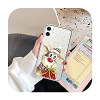 かわいい小さな丸 Christmas Elk Snow Clear Phone Case For iPhone 12 Mini Pro Max 11 Pro Max X XR XS 7 8 6s Plus SE 2020 Soft TPU Back Cover-2356-For iPhone 7 or 8