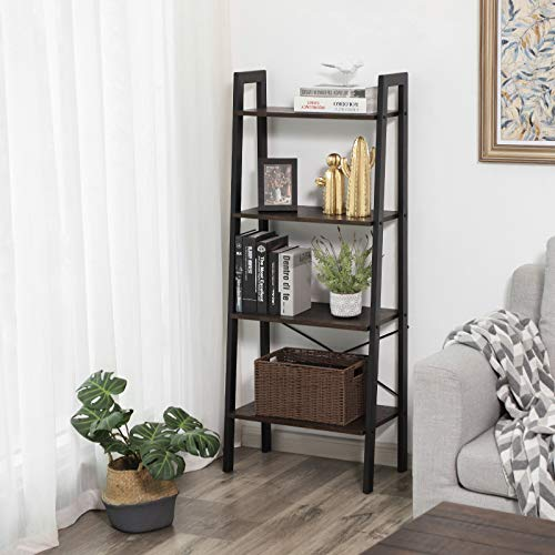 VASAGLE Industrial Bookshelf, 4-Tier Ladder Shelf, Free Standing Storage Shelves, Stable Metal Frame, Living Room Kitchen or Balcony, Easy to Assemble, Rustic Dark Brown ULLS44BF