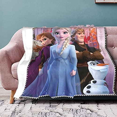 Disney Frozen Manta de franela cálida y cómoda, ultra suave, para cama, sofá, cama, manta de franela con impresión 3D transpirable