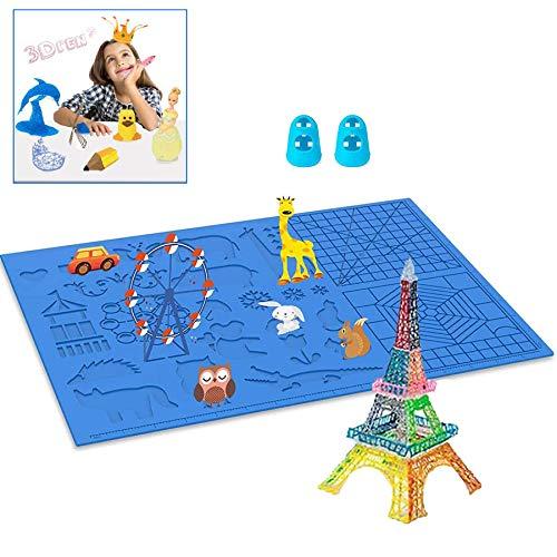 3D Stift Vorlage, 3D Druckstift Vorlage,3D Stifte Matte,große Matte,mit Tiermuster hilfreich für Anfänger,Kinder und 3D-Stiftkünstler,mit 2 Finger Stall.